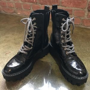 Zara Lace-Up Combat Boots in Size: US 10 / 41